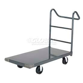 "Steel Deck Platform Truck 60 x 30 2000 Lb. Capacity 6"" Rubber Casters with Ergo Handle"