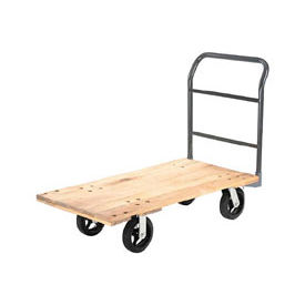 "Hardwood Deck Platform Truck 48 x 24 2400 Lb. Capacity 8"" Rubber Casters"