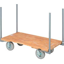 "Stake Handle Hardwood Deck Platform Truck 48 x 24 1200 Lb. Capacity 8"" Pneumatic Casters"