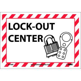 Sign Lock Out Center 7x10 Pressure Sensitive
