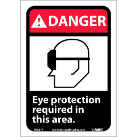 "Graphic Signs - Danger Eye Protection Required - Vinyl 7""W X 10""H"