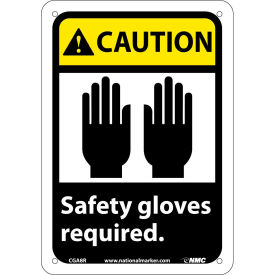 """Graphic Signs - Caution Safety Gloves Required - Plastic 7""""W X 10""""H"""