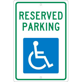 """Aluminum Sign - Reserved Parking Handicapped Logo - .063"""" Thick, TM87H"""