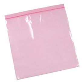 """Anti-Static Resealable Bags 12"""" x 12"""" 4 Mil Pink 500 Pack"""