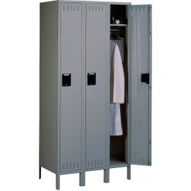 Tennsco Steel Locker STS-121572-3 02 - Single Tier w/Legs 3 Wide 12x15x72 Assembled, Medium Grey