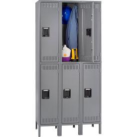 Tennsco Steel Locker DTS-121836-3-MGY - Double Tier w/Legs 3 Wide 12x18x36 Assembled, Medium Grey