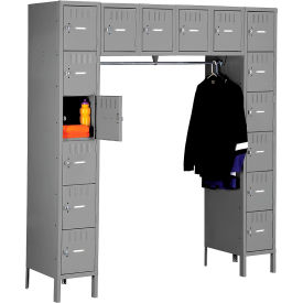 Tennsco Steel Locker SRS-721878-1-MGY - 16 Person w/Legs 12x18x12 Assembled Medium Grey