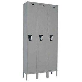 Hallowell UY3288-1A-HG Locker Single Tier 12x18x72 3 Door Assembled Gray
