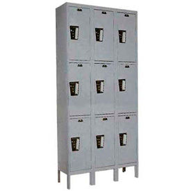 Hallowell UY3228-3A-HG Locker Triple Tier 12x12x24 9 Doors Assembled Gray