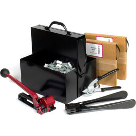 "Steel Strapping Kit With Two 1/2"" x 200' Coils, Tensioner, Sealer, Cutter & Case"