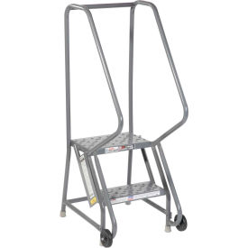 """2 Step Steel 16""""W Step Tilt And Roll Ladder - Perforated Tread - KDTF102166"""