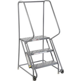 "3 Step Steel 24""W Step Tilt And Roll Ladder - Perforated Tread - KDTF103246"