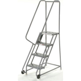 """4 Step Steel 24""""W Step Tilt And Roll Ladder - Perforated Tread - KDTF104246"""