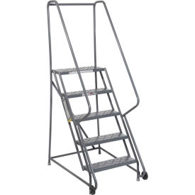"5 Step Steel 24""W Step Tilt And Roll Ladder - Perforated Tread - KDTF105246"