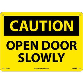 "Safety Signs - Caution Open Door Slowly - Rigid Plastic 10""H X 14""W"