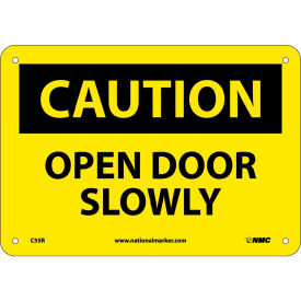"Safety Signs - Caution Open Door Slowly - Rigid Plastic 7""H X 10""W"