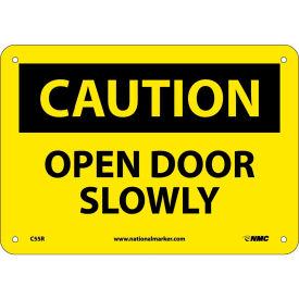 "Safety Signs - Caution Open Door Slowly - Rigid Plastic 7""H X 10""W"