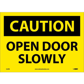 """Safety Signs Caution Open Door Slowly Vinyl 10""""H X 14""""W by"""