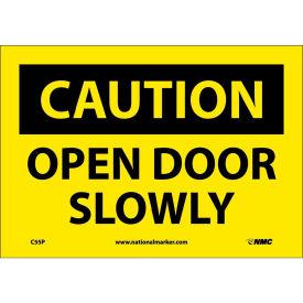 "Safety Signs - Caution Open Door Slowly - Vinyl 7""H X 10""W"