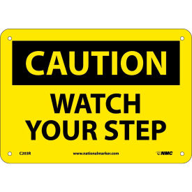 """Safety Signs Caution Watch Your Step Rigid Plastic 7""""H X 10""""W by"""