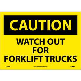 "Safety Signs - Caution Watch Out Forklift Trucks - Vinyl 10""H X 14""W"