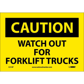 """Safety Signs - Caution Watch Out Forklift Trucks - Vinyl 7""""H X 10""""W"""