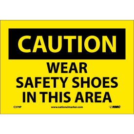 """Safety Signs - Caution Wear Safety Shoes - Vinyl 7""""H X 10""""W"""