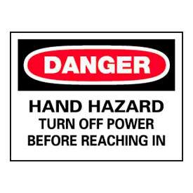 Signs With Safety Message Legend-Danger Hand Hazard