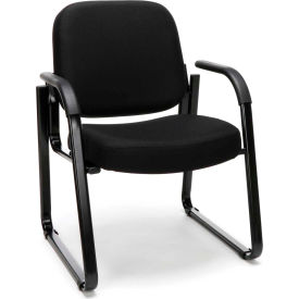 Extra Thick Cushioned Classic Fabric Side Chair - Black
