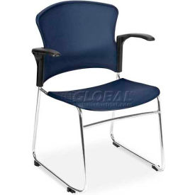 OFM Multi-Use Stack Chair with Arms, Plastic Seat and Back, Navy - Pkg Qty 4