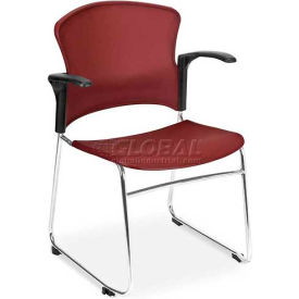 OFM Multi-Use Stack Chair with Arms, Plastic Seat and Back, Wine - Pkg Qty 4