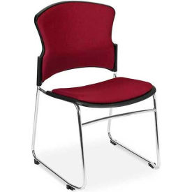 OFM Multi-Use Stack Chair with Fabric Seat and Back, Wine - Pkg Qty 4