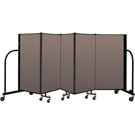 "Screenflex Portable Room Divider 5 Panel, 4'H x 9'5""L, Fabric Color: Oatmeal"