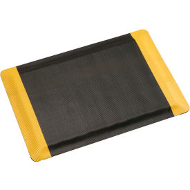 """Corrugated Safety Mat 36 Inch Wide 1/2"""" Thick Black/Yellow Border"""