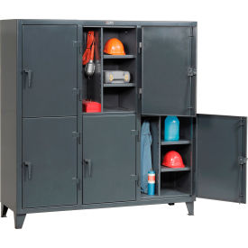 Strong Hold® Personnel Locker 66-24-2TPL - Double Tier 74x24x78 6 Doors Assembled Gray