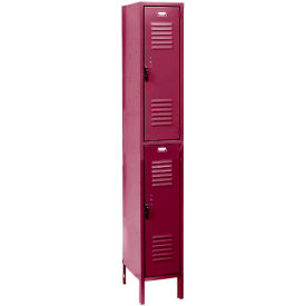 Penco 6233V-1-736SU Vanguard Locker Pull Latch Double Tier 12x15x36 2 Doors Assembled Burgundy