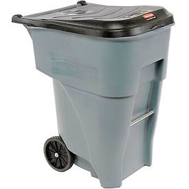 95 Gallon Rubbermaid Large Mobile Waste Receptacle - Gray With Lid