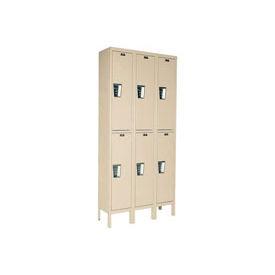 Hallowell UY3258-2A- Maintenance-Free Quiet Locker Double Tier 12x15x36 - 6 Door Assembled - Tan