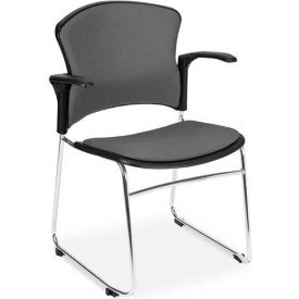 OFM Multi-Use Stack Chair with Arms, Fabric Seat and Back, Gray - Pkg Qty 4