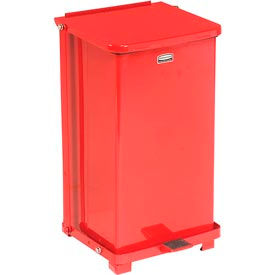 Rubbermaid® ST12ERB Defenders® Fire Safe Step On Metal Trash Cans, 12 Gallon, Red