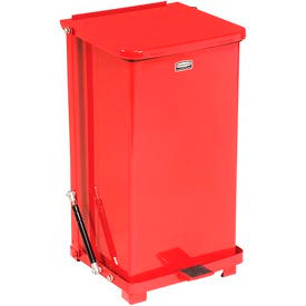 Rubbermaid® QST12ERB Defenders® Fire Safe Silent Step On Metal Trash Can, 12 Gallon, Red