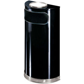 Half Round Trash Container With Ashtray Lid 9 Gallons