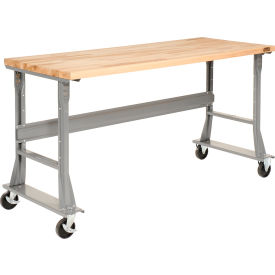 "72 x 30 Maple Square Edge Mobile Work Bench - Fixed Height - 1 3/4"" Top"