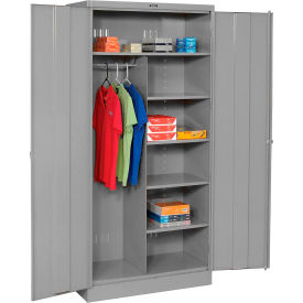 Tennsco Combination Industrial Storage Cabinet 1872-MGY - 36x18x78 Medium Grey