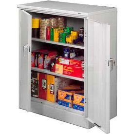 Tennsco Counter Height Metal Storage Cabinet 4218-LGY  - Welded 36x18x42 Light Grey