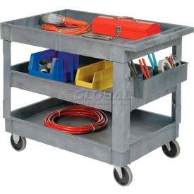 "Best Value Plastic 3 Shelf Tray Service & Utility Cart 5"" Rubber Casters"