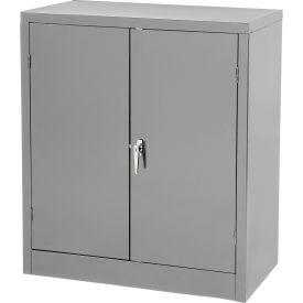 Tennsco Counter High Metal Storage Cabinet 1442-MGY - 36x18x42 Medium Grey