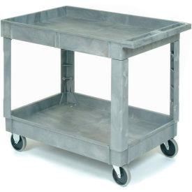 "Plastic 2 Shelf Tray Service & Utility Cart 40x26 5"" Rubber Casters"