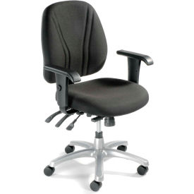 Multifunctional Office Chair with Arms - Fabric - Mid Back - Black Seat Silver Base