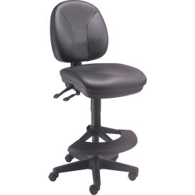 Interion™ Leather Stool - Task Synchro Mechanism - 180° Footrest